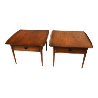 Pair Bassett Mid Century Danish Inspired Walnut Side End Tables
