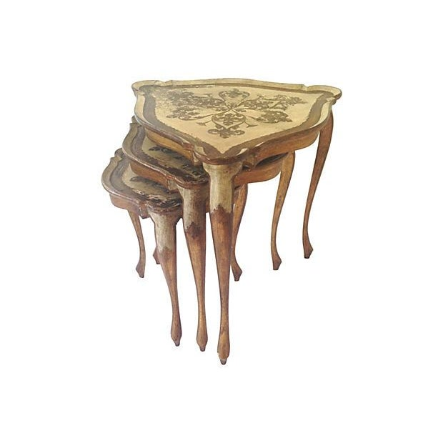Italian Florentine Wood Nest Tables - Set of 3 - Image 3 of 6