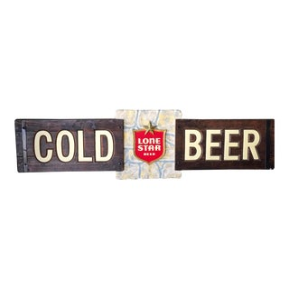 "Vintage Lone Star ""Cold Beer"" Sign"