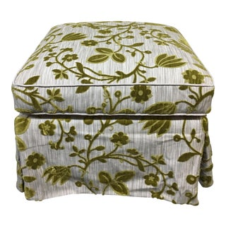 Custom Grey & Green Upholstered Ottoman