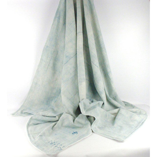 Light Blue Mudcloth Throw Blanket - Image 3 of 5