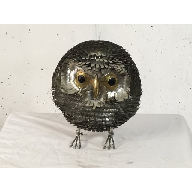 Brutalist Chrome Owl Attributed To Curtis Jere - Image 2 of 4