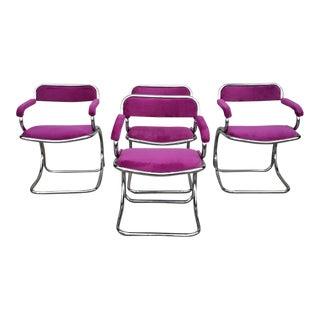 Vintage Fuchsia Milo Baughman Dining Chairs - Set of 4