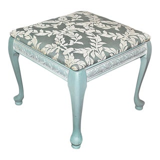 Queen Anne Style Upholstered & Painted Stool