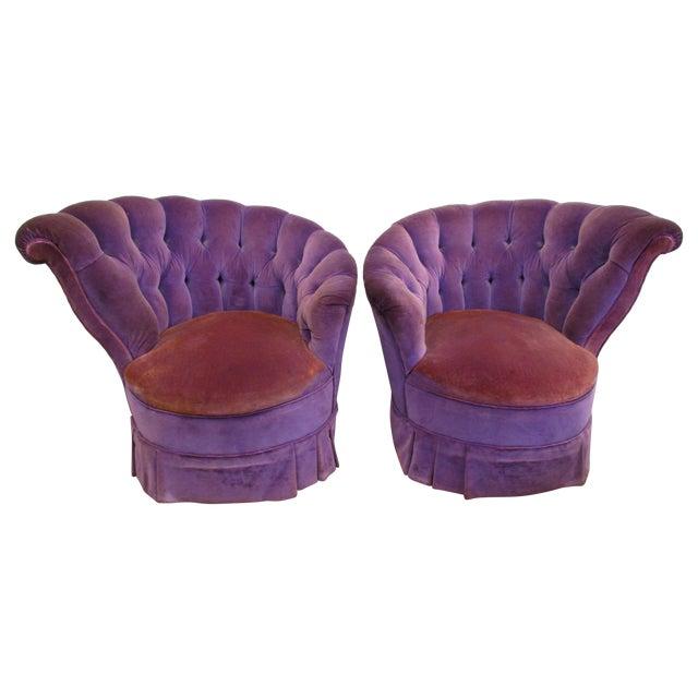 Image of Purple Velvet Nautilus Chairs - Pair