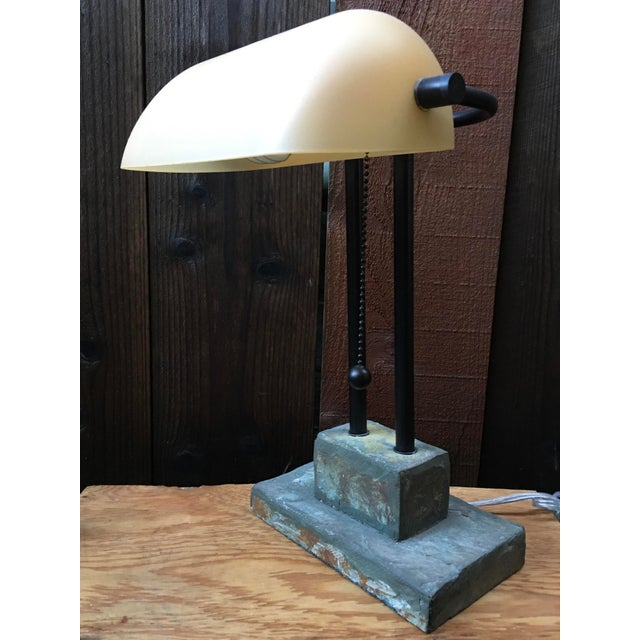 Antique Style Banker's Desk Lamp With Slate Base - Image 3 of 6