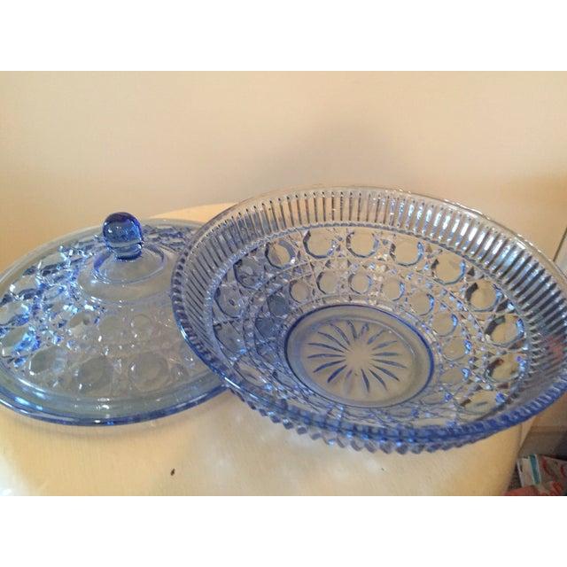 Image of Blue Glass Lidded Bowl