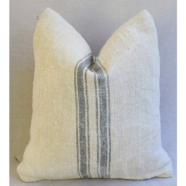 Custom French Gray Stripe Gain Sack Feather/Down Pillows - Pair - Image 7 of 8
