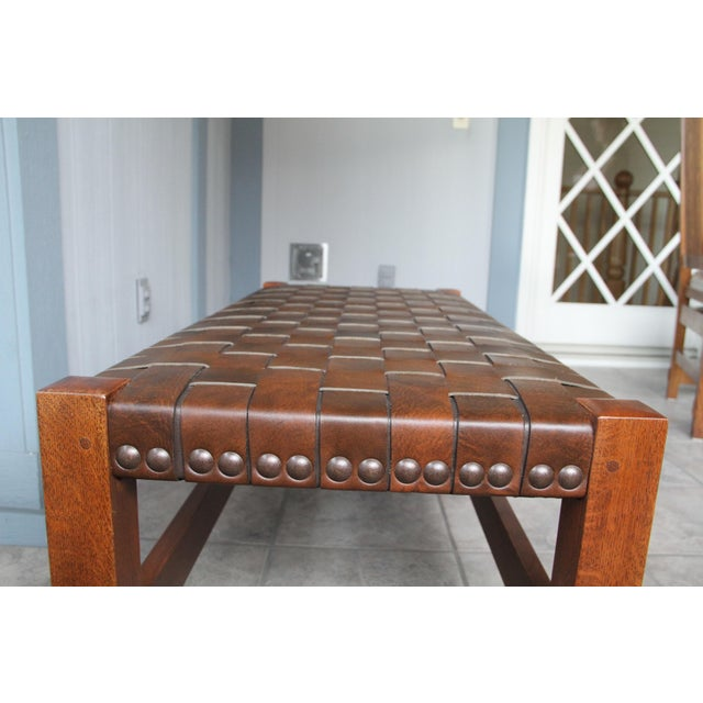 Stickley Woven Leather Bench Chairish