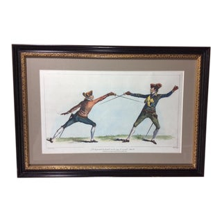 """The School of Fencing"" Hand Colored Engraving"