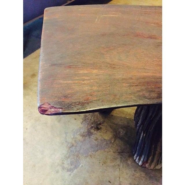 Organic Natural Iron Wood Curved Rustic Bench - Image 11 of 11