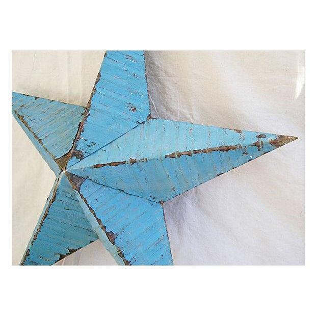 Large Reclaimed Barn Metal Blue Star - Image 4 of 6