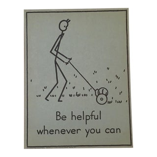 "Vintage 1940's Double-Sided ""Good Manners"" Stick Figure Poster - Be Helpful/Care for Books"