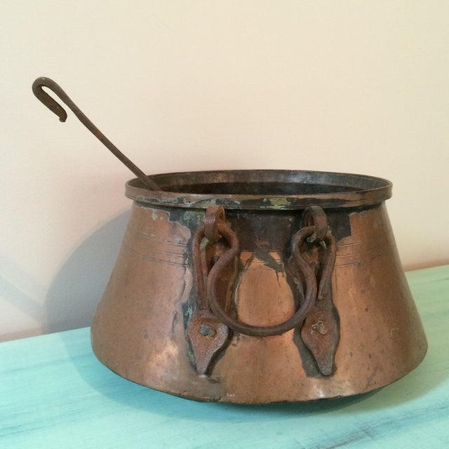 Image of Copper Stew Pot with Ladel