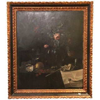 19th Century Oil on Canvas Still Life Signed with Label in an Ebony & Gilt Frame