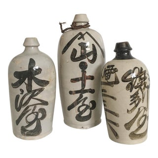 19th Century Japanese Calligraphy Sake Bottles - Set of 3