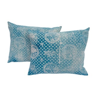 Vintage Faded Indigo Batik Pillows - Pair