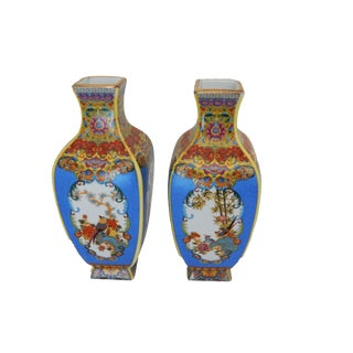 Famille Rounded Rose Style Vases - A Pair