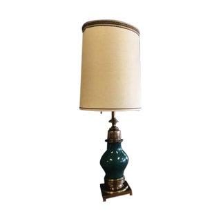 Stiffel Green Porcelain & Brass Table Lamp