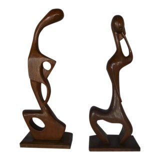 Mid-Century Cubist Style Woman & Man Wooden Sculptures