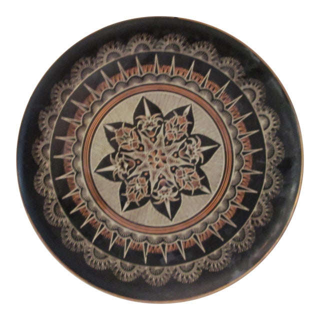 Vintage Moroccan Large Etched Copper Tray - Image 1 of 6