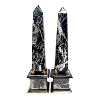 Large Black Ceramic Faux Marble Obelisks - Pair