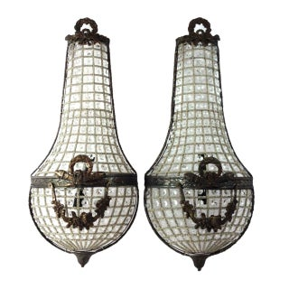 French Crystal Style Sconces - a Pair