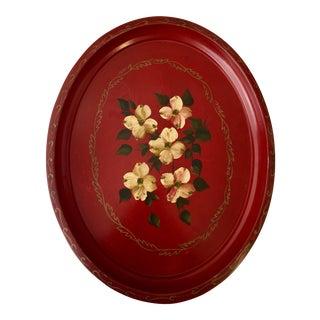 Vintage Dogwood Blossom Motif Tin Tray