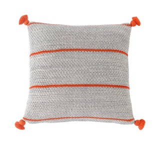 Boho Gray & Orange Strips with Pompoms Pillow