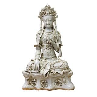 Chinese Tong Style Off White Porcelain Kwan Yin Tara Bodhisattva Statue