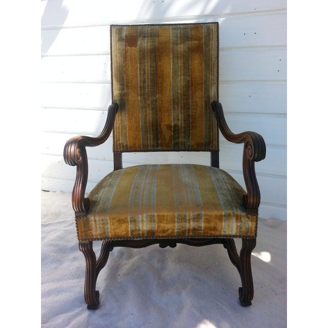 Antique Golden Velvet French Chair - Image 3 of 4