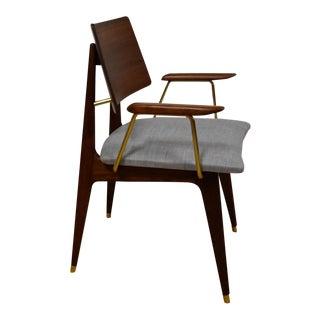 Walnut & Brass Occasional Chair