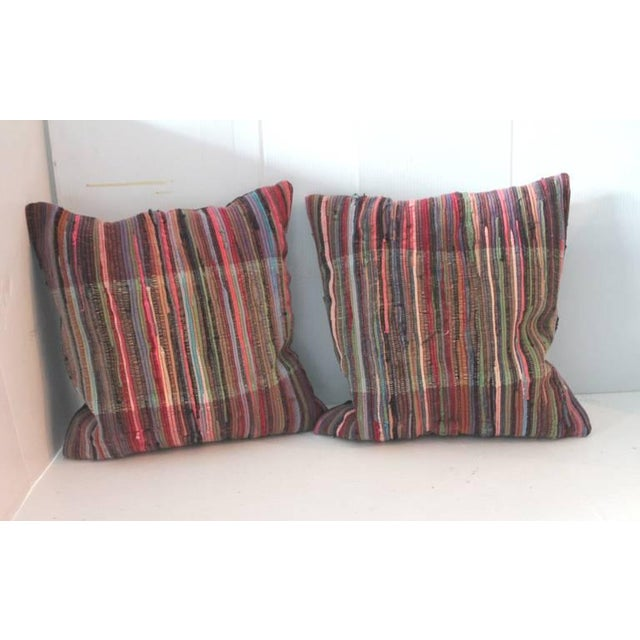 Image of Pair of Multi Colored Rag Rug Pillows