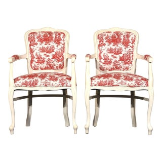 French Louis XV-Style Painted Armchairs - a Pair