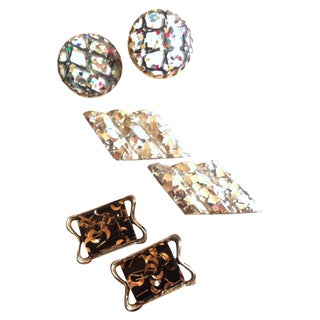 Confetti Glam Mid Century Clip Earrings - Set of 3
