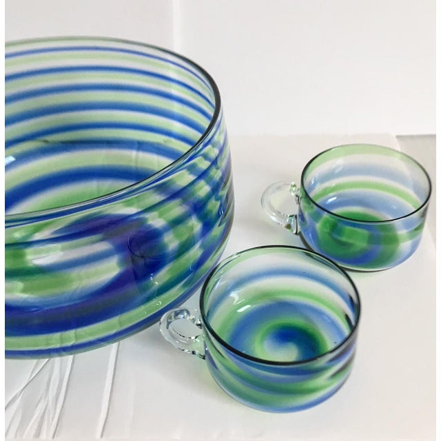 Mid-Century Artisanal Glass Swirl Punch Bowl Set - Set of 5 - Image 4 of 6