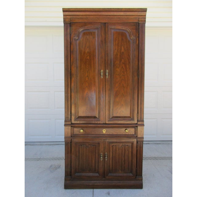 Image of Drexel Lighted Bar Cabinet With Wine Rack
