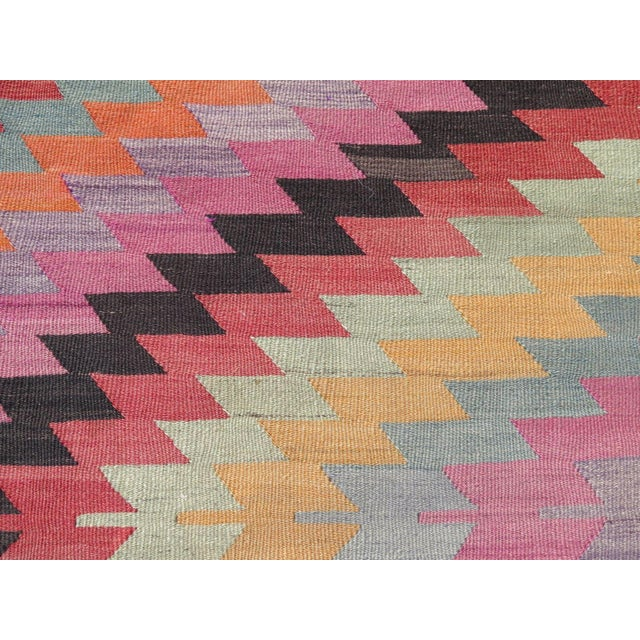 "Vintage Turkish Kilim Rug - 5'9"" X 9'3"" - Image 10 of 11"