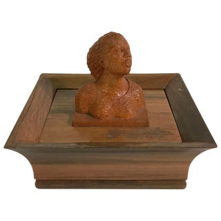Mid-Century Hand-Carved Wooden Box with Bust