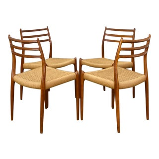 J.L. Møller No. 78 Danish Teak & Cord Dining Chairs - Set/4