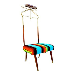 Mid-Century Teak Valet Vanity Chair || Mexican Sarape Brass Wardrobe Butler Stool || Retro Bohemian Dressing Chair || Pearl-Wick N.Y. U.S.A