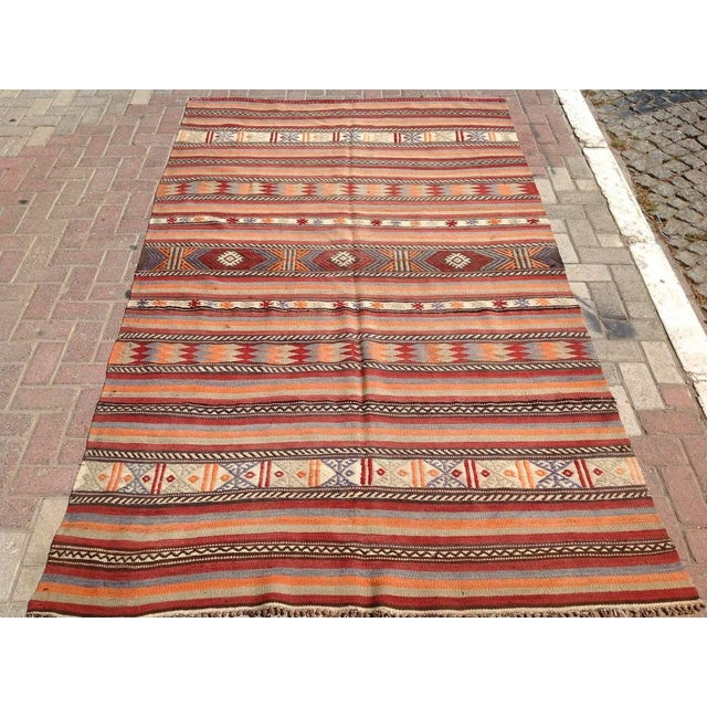 "Vintage Turkish Kilim Rug - 5'4"" x 8'11"" - Image 2 of 6"
