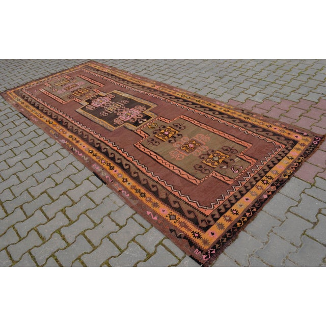 Turkish Hand Woven Kilim Rug - 5′1″ X 12′6″ - Image 4 of 10