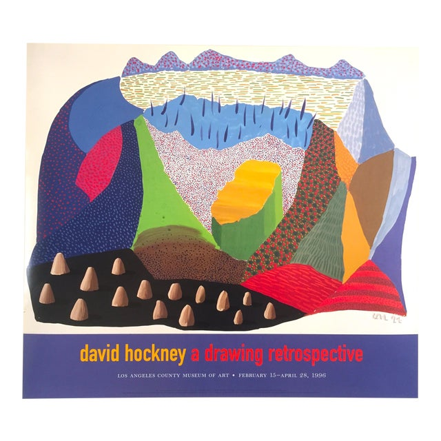 Vintage 1996 David Hockney Original Lithograph Lacma Exhibition Pop Art Poster - Image 1 of 11