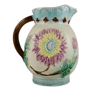 English Majolica Pastel Glazed Floral Large Pitcher