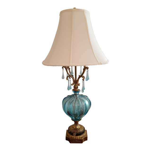 Hollywood Regency Turquoise Murano Lamp - Image 1 of 5