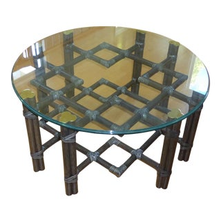 McGuire Black Rattan Bamboo Coffee Table with Glass Top