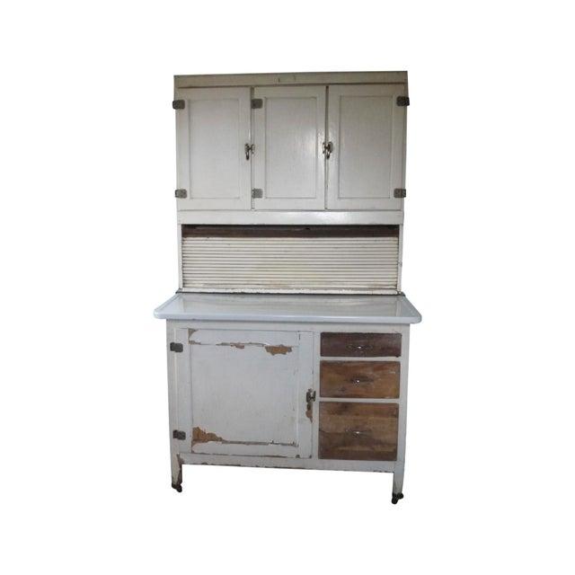 Mid-Century White Wood Hoosier Potting Cabinet - Image 1 of 11