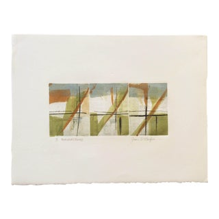 """Transactions"" Original Joan W. Caefer Signed Monotype - Abstract Patterns in Green, Orange, and Blue"