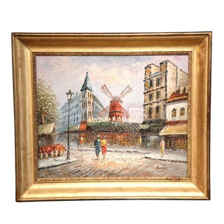 """Early 20th Century French Painting """"Le Moulin Rouge"""" in Antique Gilt Frame"""